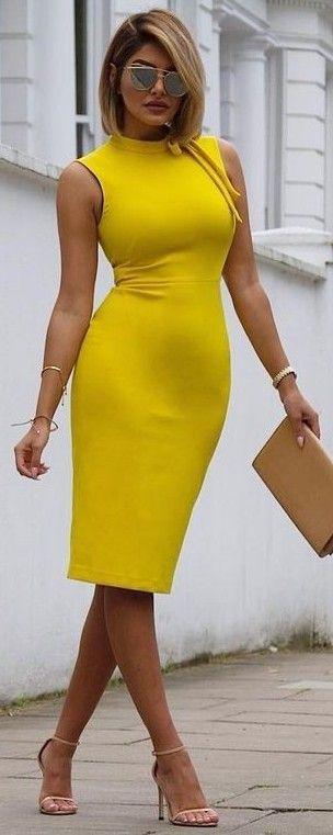 #summer #chic #feminine #style | Yellow Midi Dress