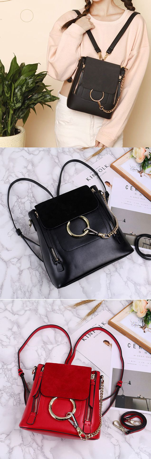 2017 New Arrival Fashion Splicing Frosted PU Metallic Chain Circular Ring School Backpack