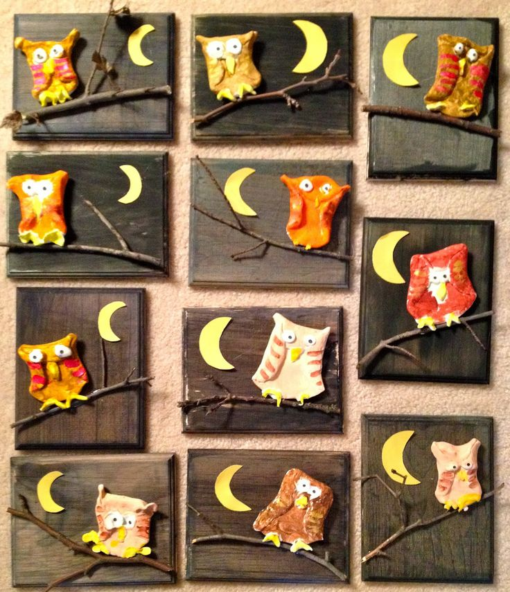 Crayola Model Magic Owls on wooden night sky-1st grade-Art with Mr. Giannetto