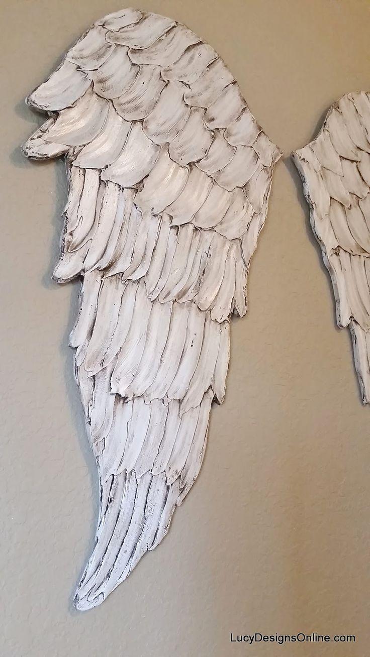 Wood Angel Wings Wall Art, Carved Wood Look, International Shipping