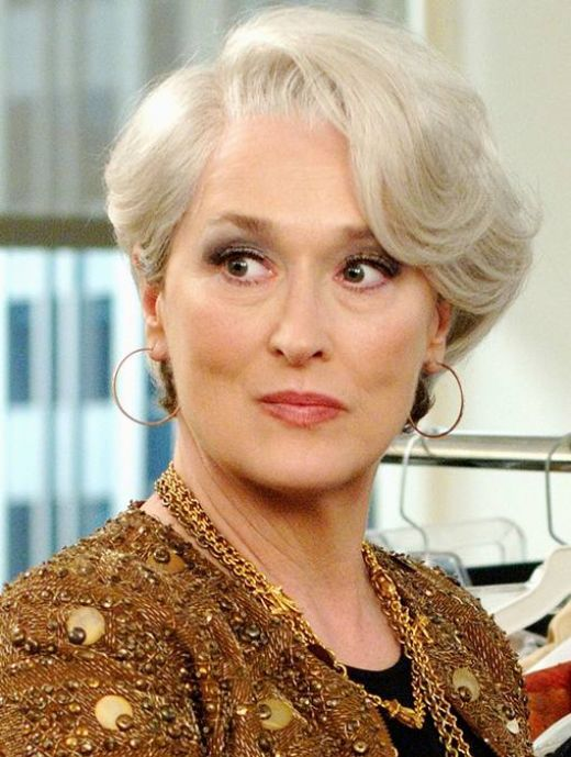 Precise and Frightening: Meryl Streep in The Devil Wears Prada. Brilliant choice to not replicate Anna Wintour's iconic look, but do one better. Genius.