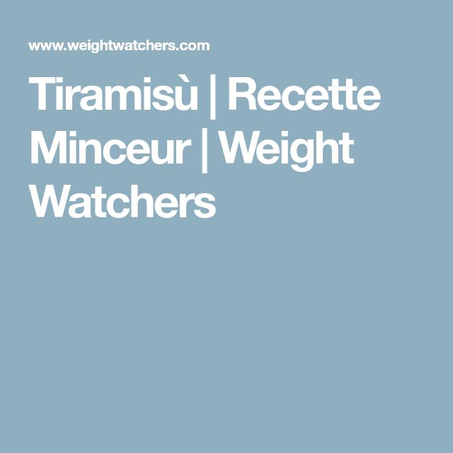 Tiramisù | Recette Minceur | Weight Watchers