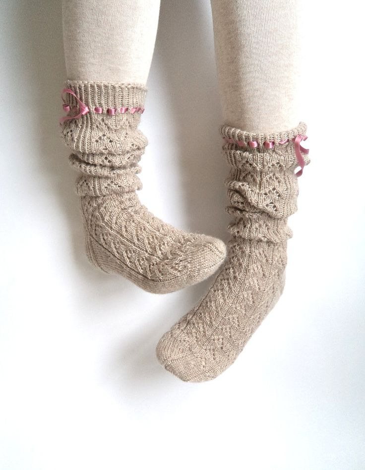 Boot socks. Knee high socks. Leg warmers. Ladies size S, lace beige. Wool socks. Hand knit socks. Lace socks.. €55.00, via Etsy.