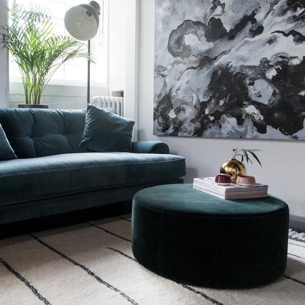 Blanca Petrol Velvet Sofa