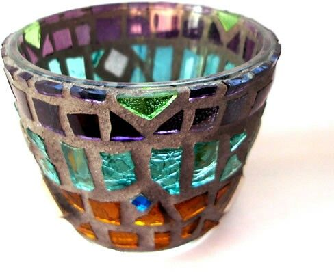 """Naquada"" mosaic tea light candle holder - 2005 by Kevin McMahon @MosaicAvatar"