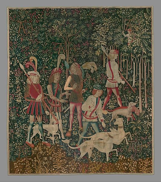 The Hunters Enter the Woods (from the Unicorn Tapestries), 1495–1505. South Netherlandish. The Metropolitan Museum of Art, New York. Gift of John D. Rockefeller Jr., 1937 (37.80.1) #dogs