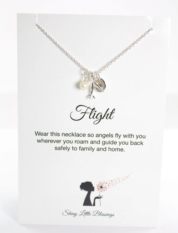 Flight Attendant Gifts Personalized Airplane Necklace and Card, 925 Sterling Silver Jewelry by Shiny Little Blessings.