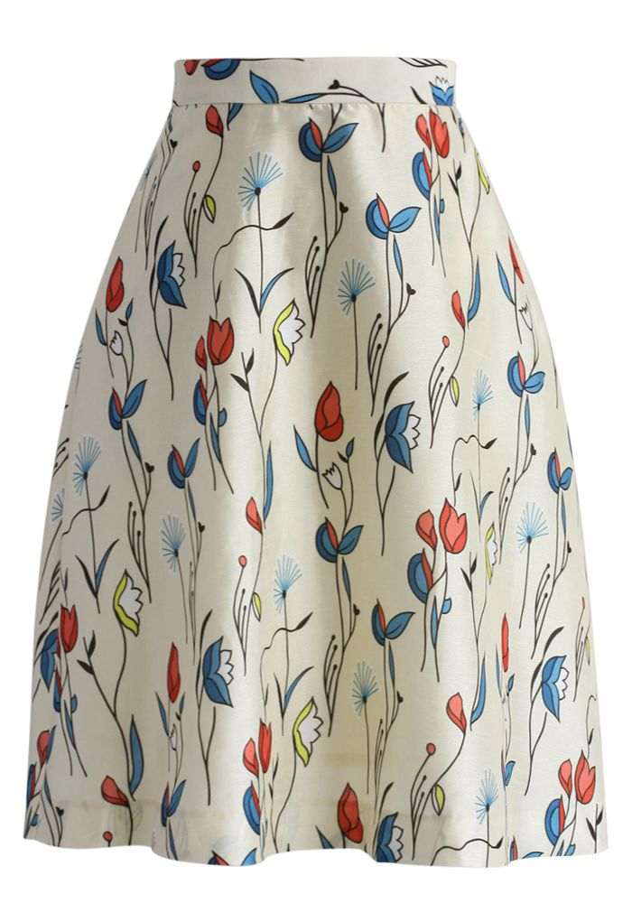 Fly With Tulips Printed Midi Skirt in Ivory - New Arrivals - Retro, Indie and Unique Fashion