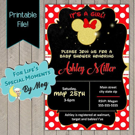 Minnie Mouse Custom Baby Shower Invitation - Printable file - It's a Girl Baby Shower Invite
