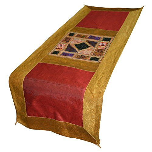 Brocade Silk Table Runner With Mirror And Thread Work Handmade Table Cloth  DronaIndia