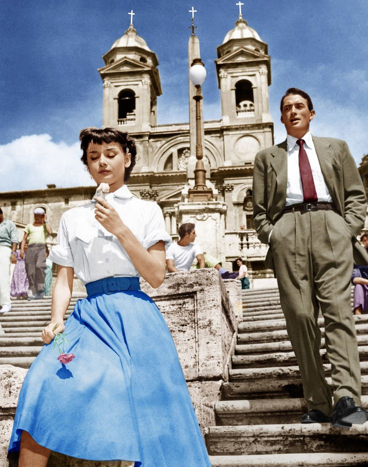 Even celebrities scream for ice cream: Audrey Hepburn and Gregory Peck in Roman Holiday, 1953.