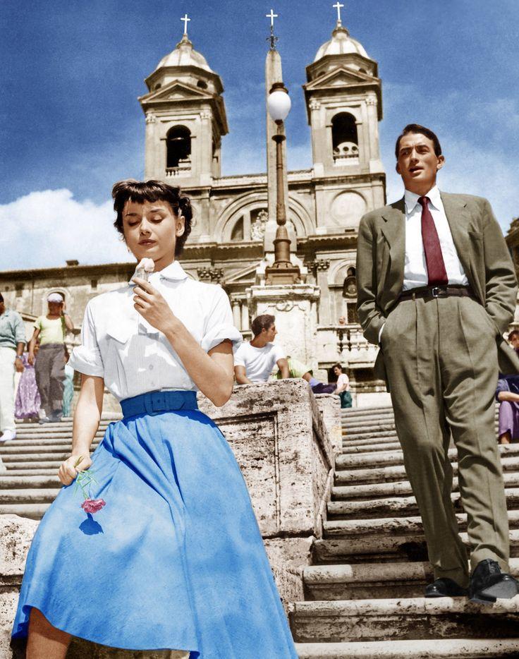 Even celebrities scream for ice cream: Audrey Hepburn and Gregory Peck in Roman…