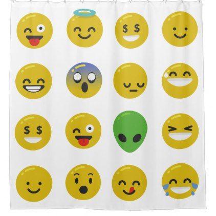 #shower - #Emoji happy face bathroom shower curtain