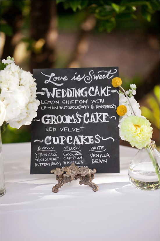 small chalkboard sign for desserts... good idea to have different cupcakes in case guests are picky (also some that are gluten free)