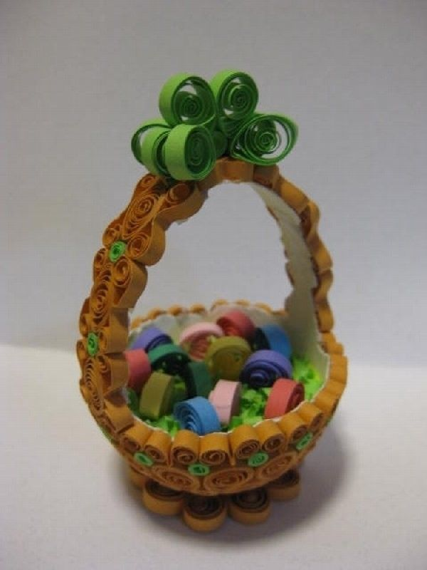 Image detail for -Quilled Easter Basket with green ribbon by QuillPaperTreasures