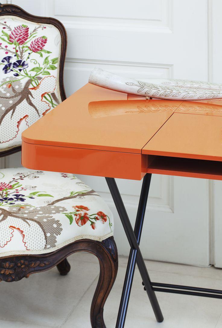 Cosimo Desk Design Marco Zanuso Jr   Orange Glossy Lacquered Detail Www. Adentro.fr