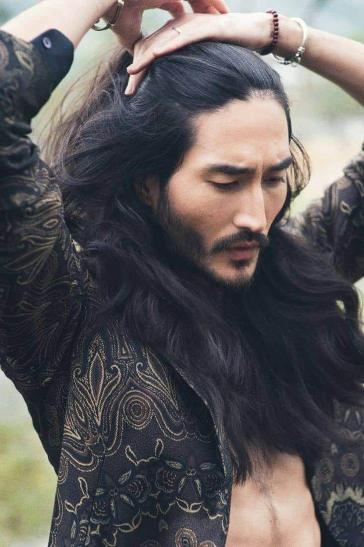 15 Dashing Male Models With Long Hair Fashionterest Long Hair Styles Men Asian Men Long Hair White Hair Men