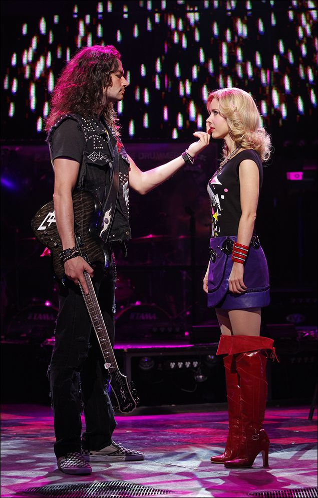 Constantine Maroulis and Kerry Butler in Rock of Ages on Broadway.