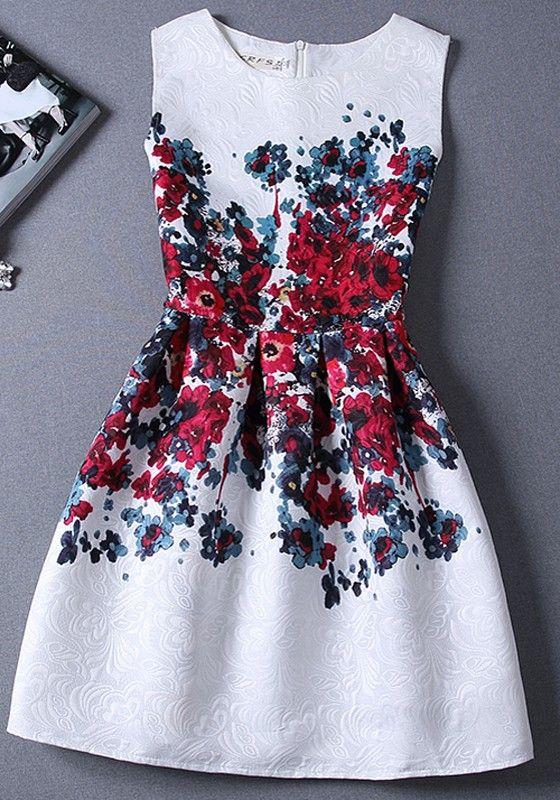 Red Floral Print Pleated Zipper Vintage Mini Dress