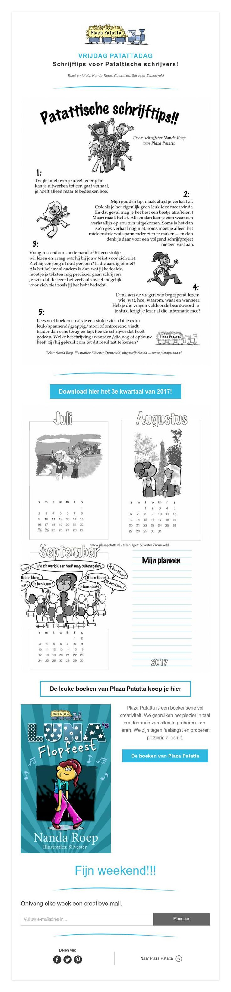 VRIJDAG PATATTADAG Vrijdag Patattadag geeft je #schrijftips: https://www.plazapatatta.com/so/aLpM4S91 #kinderboeken #lezen #zomer
