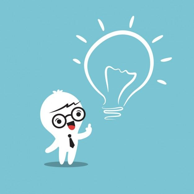 Business person cartoon with a light bulb Free Vector