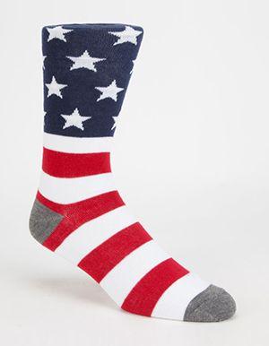 BLUE CROWN American Flag Mens Crew Socks  Red