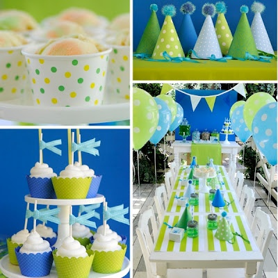green and blue themed party