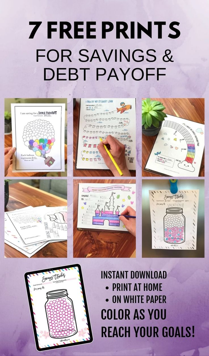7 Free Savings and Debt Payoff Coloring Pages