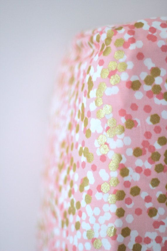 Fitted Crib Sheet in Pink Coral and Gold by RockyTopDesign on Etsy