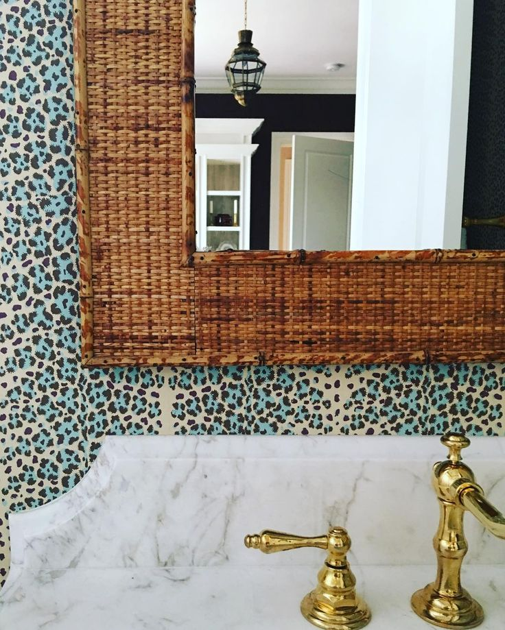 ashley whittaker.  leopard wallpaper.  powder room.