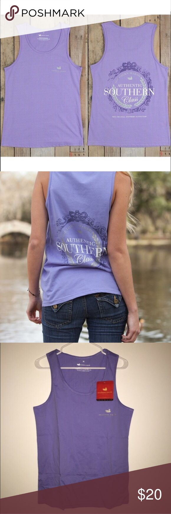NWT Southern Marsh Southern Class Tank Purple Southern Marsh's most popular shirt, now with a little less fabric and a lot more skin! Featuring the Southern Marsh Authentic Southern Class on the back, and the Authenticlogo on the front! The SOUTHERN MARSH Southern Classmakes a great addition to your wardrobe.- 100% Lightweight Cotton - Ultra Soft Spun Fabric - Full Color - Garment Washed - NEVER WORN OR WASHED - BRAND NEW WITH TAGS - SIZE MED Southern Marsh Tops Tank Tops