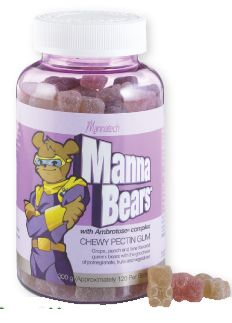 MannaBears™ (300 g) - Let's face it - kids go for taste, not necessarily nutrition. Mannatech's MannaBears have been formulated to provide the nutrients of 10 different dehydrated fruits and vegetables to support the nutritional needs of a growing body that are tasty.