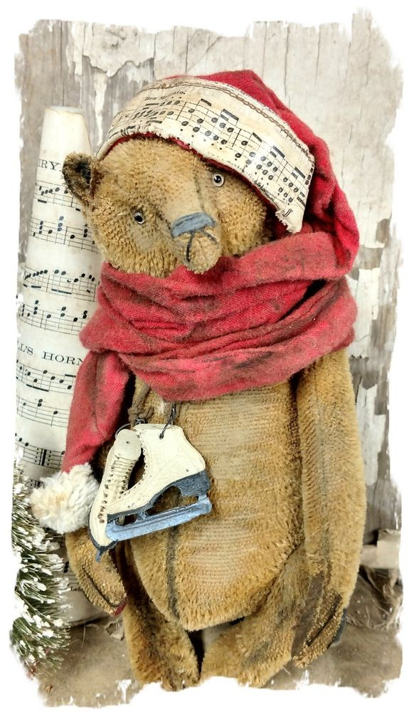 "Image of ""Fa La La"" - Old Vintage Stubble Mohair Teddy Bear- 10"" w/scarf hat & ice skates By Whendi's Bears artist primitive antique style worn Christmas"