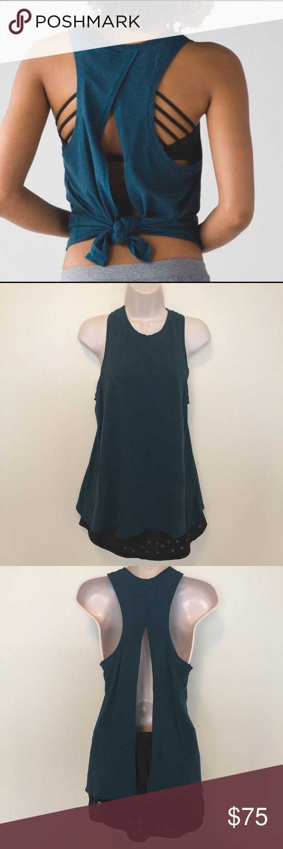 ✨HP✨lululemon all tied up tank. alberta lake. lululemon all tied up tank. alberta lake. teal. 4. never work to work out. great condition. lululemon athletica Tops Tank Tops