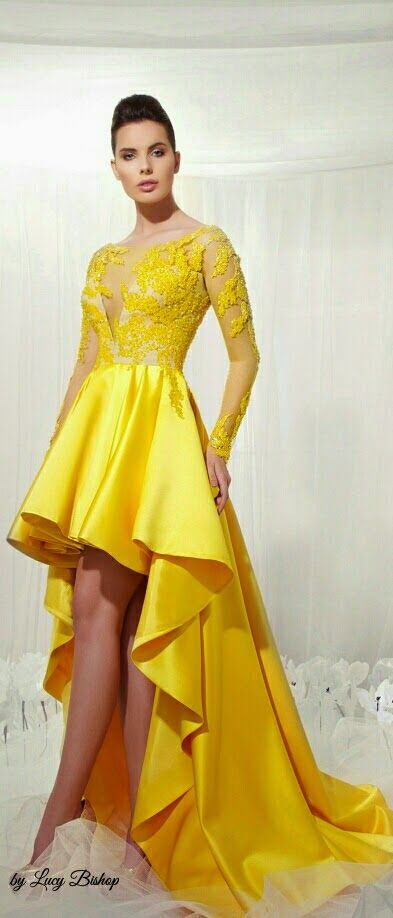 Yellow Haute Couture Ball Gowns - High Low Evening Dress with Long Sleeve design