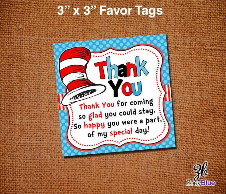 Dr Seuss Baby Shower Favor Tags Dr Seuss by ZoeyBlueDesigns, $3.00
