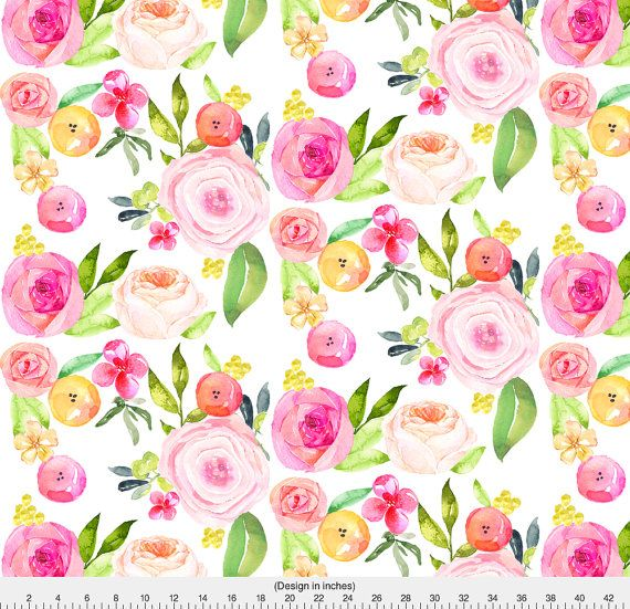 Floral Watercolor Wedding Fabric Spring Peonies Roses And