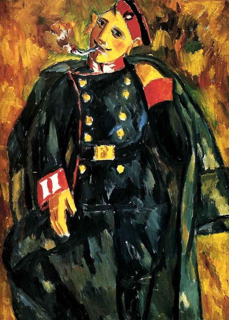 Ларионов М.Ф. «Курящий солдат» 1910 г. Холст, масло. 99 х 72 см.  Государственная Третьяковская галерея, Москва, Россия
