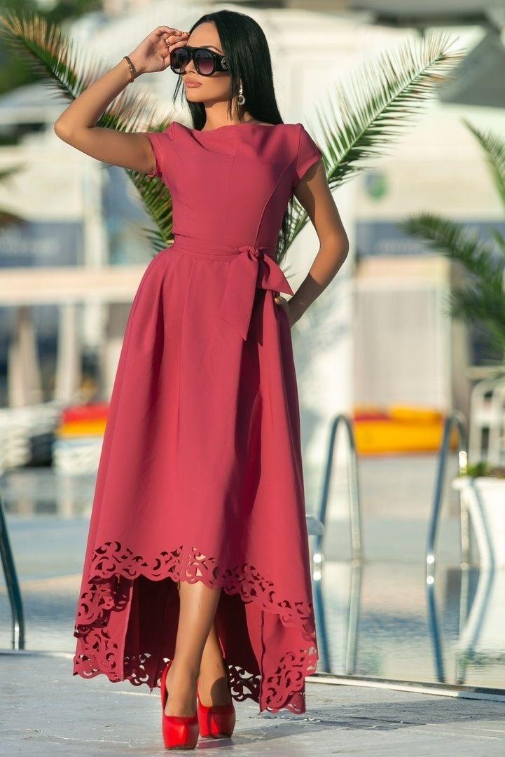 2ff07c1188aaeac Красивое длинное летнее платье СЛ-572 Красивое длинное летнее платье с  перфорацией, на талии пояс. Цвет марсала Ткань креп, перфорация З… | Платья  48+ ...