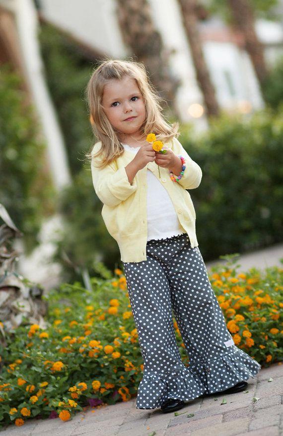La Tee Da Kids - Girls Ruffle Capri Pants - E-PATTERN-sewing patterns,girls patterns,girls pant pattern