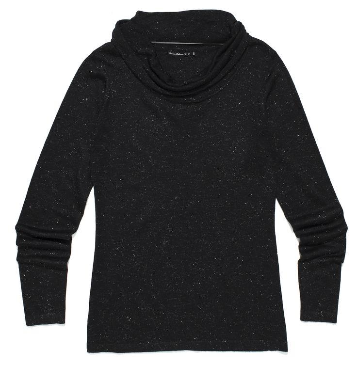 fr-l8, czarny, połyskujący sweter z srebrnymi drobinkami