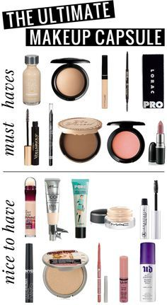 The Ultimate Makeup Capsule! All of the products you'll want in a simple makeup collection! 10 must-haves, and 10 nice-to-haves. .