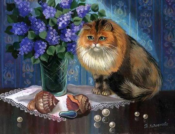 Оригинал схемы вышивки «Сибирский кот и букет сирени»