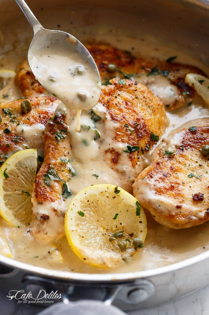 The ultimate in gourmet comfort food with parmesan cheese, garlic and a creamy lemon sauce, this Creamy Lemon Parmesan Chicken Piccata is out of this world. With NO heavy cream!   http://cafedelites.com