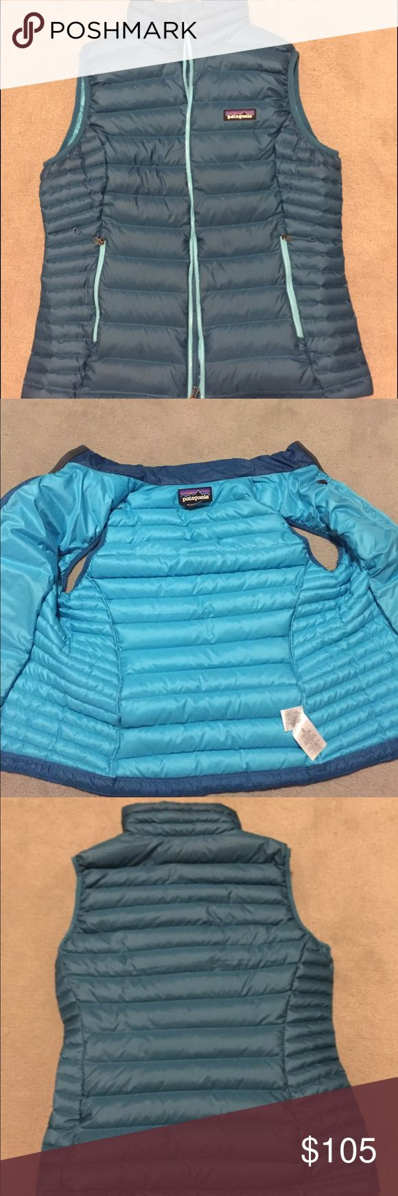 Patagonia blue vest in great condition! only has a little flaw shown in last picture that is unnoticeable when wearing! super cute Patagonia Jackets & Coats Vests