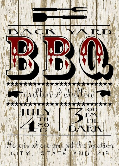Back Yard BBQ Party Invitation{Free Printable!!}