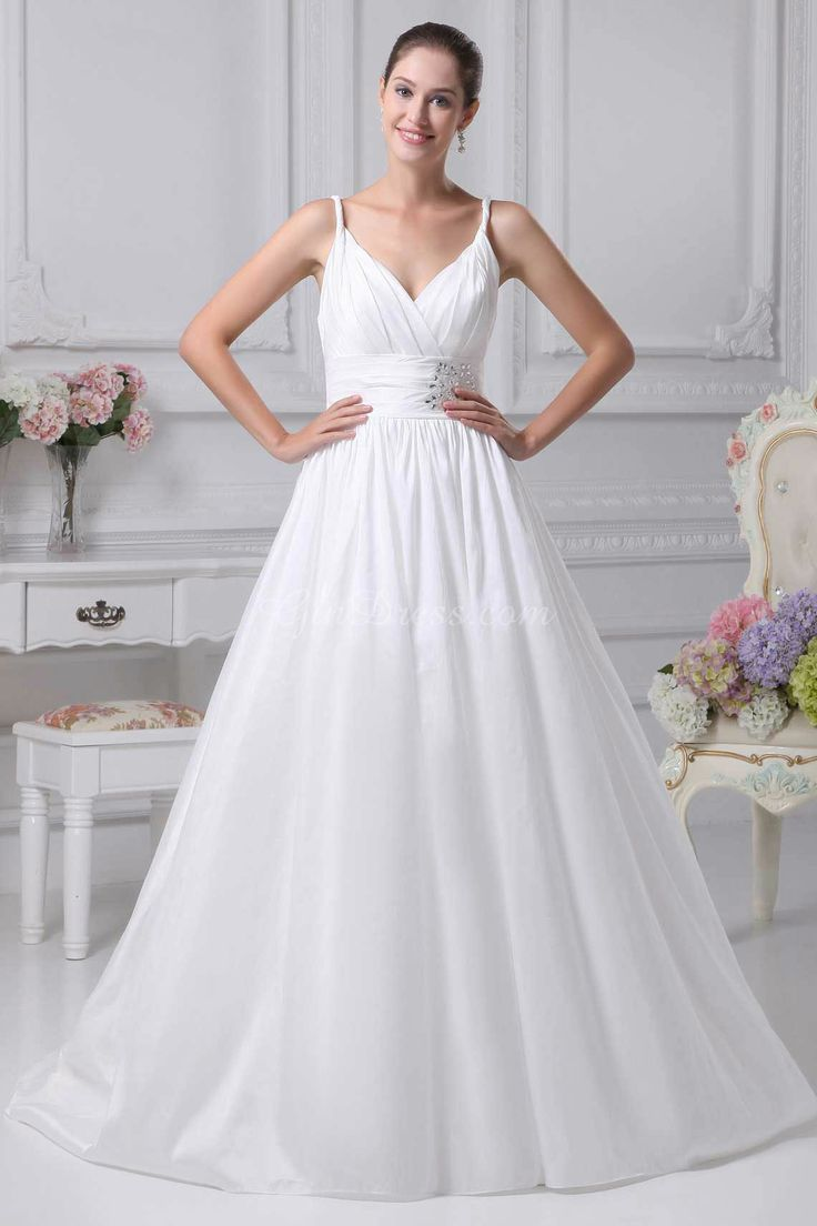 brush train white a-line beaded zipper empire wedding dress - Gindress.com