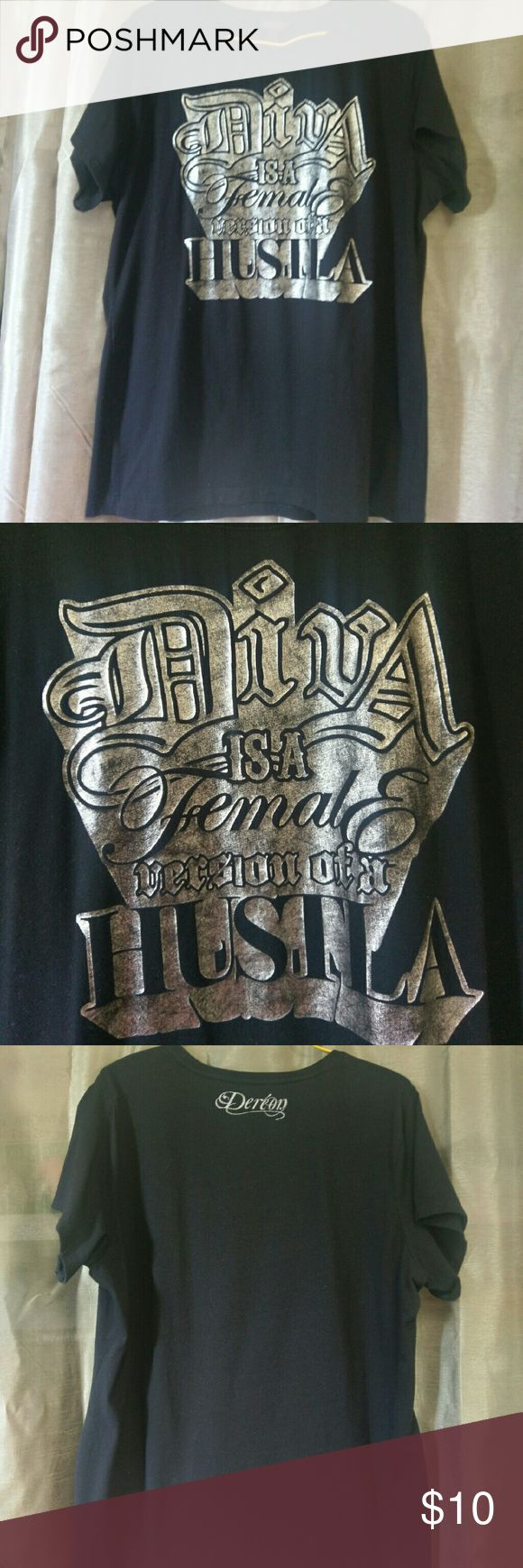 Dereon Tee - Diva is Female Version of a Hustla Beyonce's clothing line featuring her famous lyrics. Soft, with stretch.  Excellent used condition.  Size 1X (XL) Dereon Tops Tees - Short Sleeve