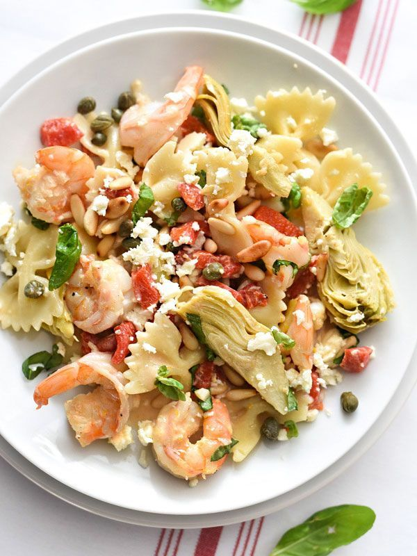 Shrimp Pasta with Roasted Red Peppers and Artichokes #pasta #shrimp #recipe