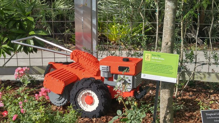 Check out this rototiller made from Lego blocks!